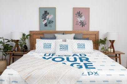 Duvet Cover Mockup Featuring Three Customizable Pillows Placed on a Neat Bed 31303