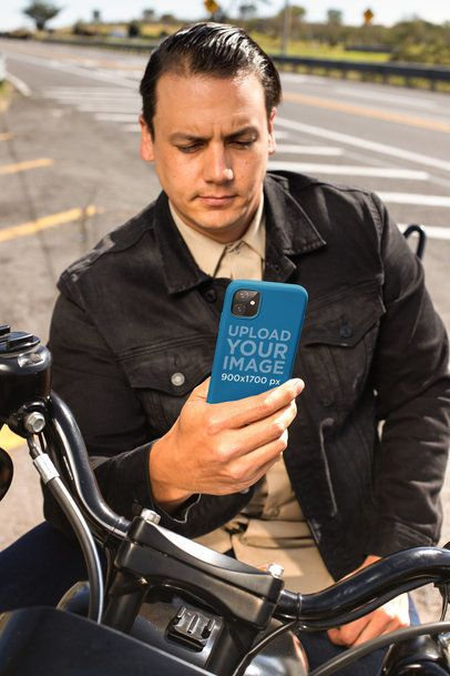 Phone Case Mockup for iPhone 11 Featuring a Biker Man 31865