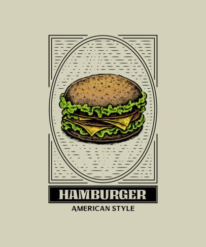 T-Shirt Design Template with Realistic Illustrations of Fast Food 300-el1