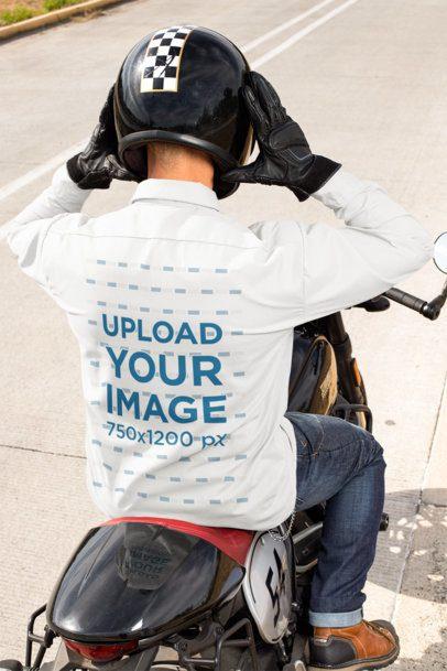 Button-Up Shirt Featuring a Biker Putting His Helmet on 31844
