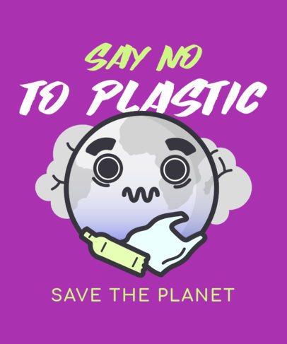 Earth Day T-Shirt Design Generator Featuring a Zero-Plastic Awareness Message 2301d