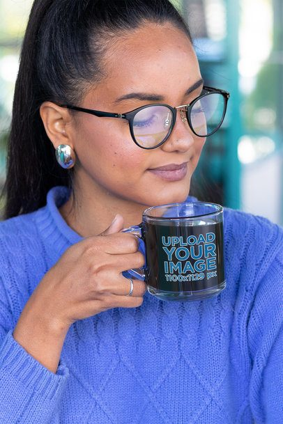 Clear Mug Mockup of a Young Woman Tasting Her Morning Coffee 31744