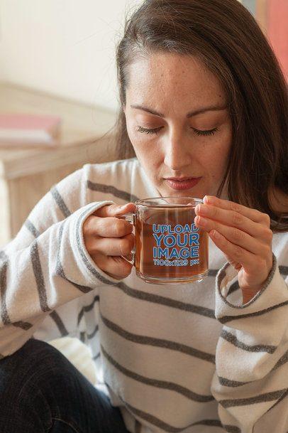 11 oz Glass Mug Mockup of a Woman Enjoying Her Tea 31758