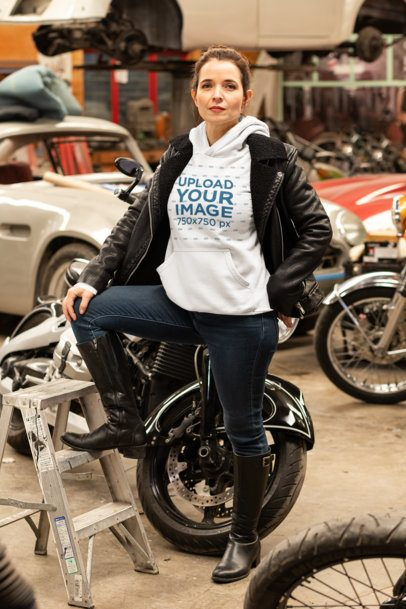 Pullover Hoodie Mockup Featuring a Woman at a Mechanic Shop 31854