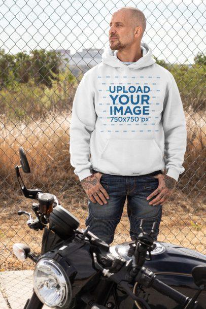 Pullover Hoodie Mockup Featuring a Tattooed Biker 31845