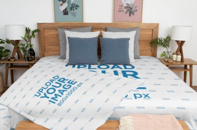 Duvet Cover Mockup Featuring a Sublimated Blanket in a Modern Bedroom 31327
