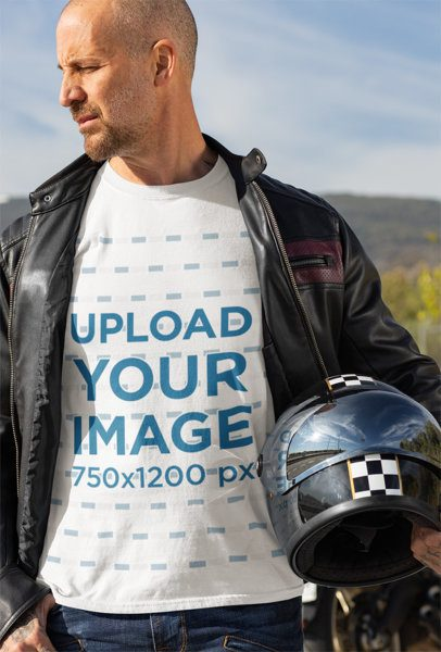 T-Shirt Mockup Featuring a Biker Holding His Helmet 31787