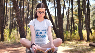 T-Shirt Video of a Woman Reading in the Woods 32715