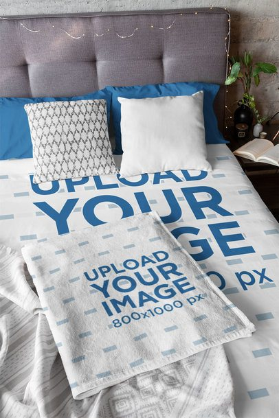 Mockup of a Bed with a Customizable Duvet and Blanket 31315