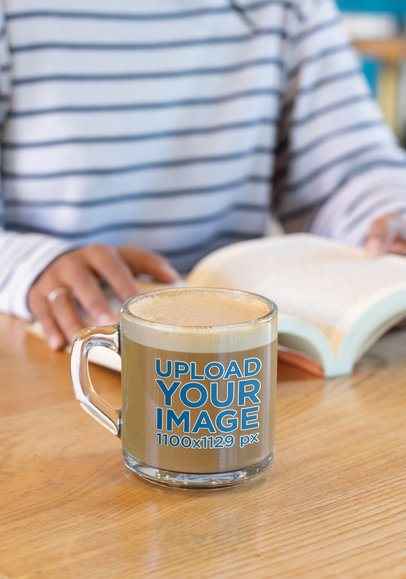 11 oz Glass Mockup of a Woman Reading a Book 31742