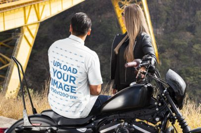 Back-View Button Up Shirt Mockup of a Biker on a Road Trip 31859