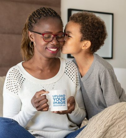 11 oz Coffee Mug Mockup of a Mother with Her Boy 32662