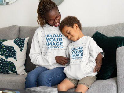 Hoodie Mockup of a Mom Hugging Her Son 32660