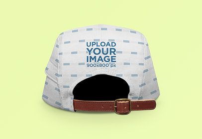 Back-View Mockup of a 5-Panel Hat with a Customizable Background 3036-el1