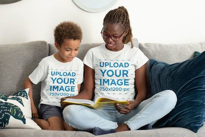 T-Shirt Mockup Featuring a Mom and Her Son Reading Together at Home 32650