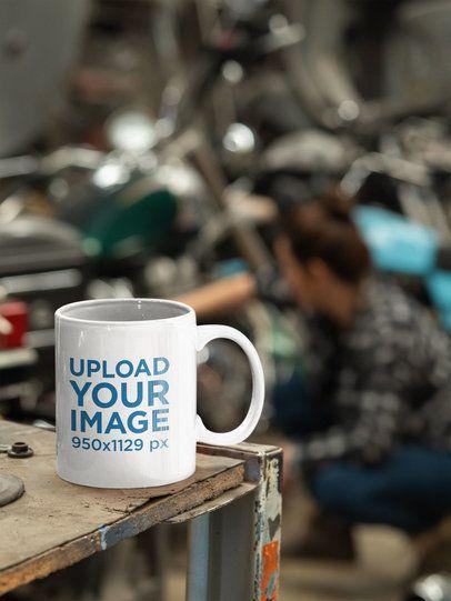 Mockup of a Coffee Mug at a Mechanic Garage 31795