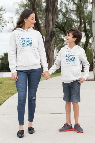Pullover Hoodie Mockup Featuring a Kid with His Mom 32634