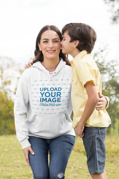 Hoodie Mockup Featuring a Mom and Her Affectionate Son 32633