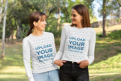 Mockup of a Mom and Daughter Wearing Long-Sleeve Tees at the Park 32668