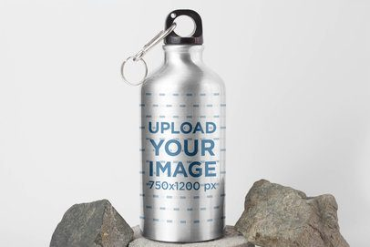 Aluminum Bottle Mockup Featuring Some Rocks 3087-el1
