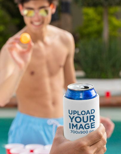 Koozie Mockup Featuring a Man Playing Beer Pong 32703
