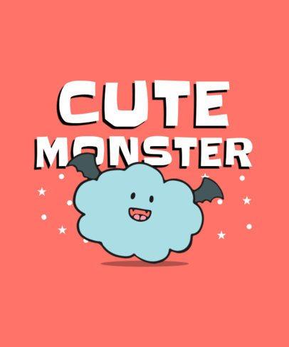 Kids T-Shirt Design Template Featuring Cute Creatures 400-el1