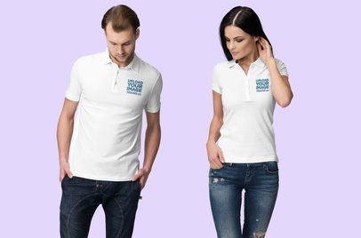 Mockup of a Man and a Woman Wearing Polo Shirts in a Studio 3200-el1