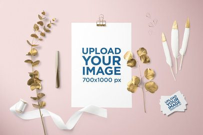 Letterhead Mockup Featuring Golden Ornaments and Some Business Cards 3164-el1