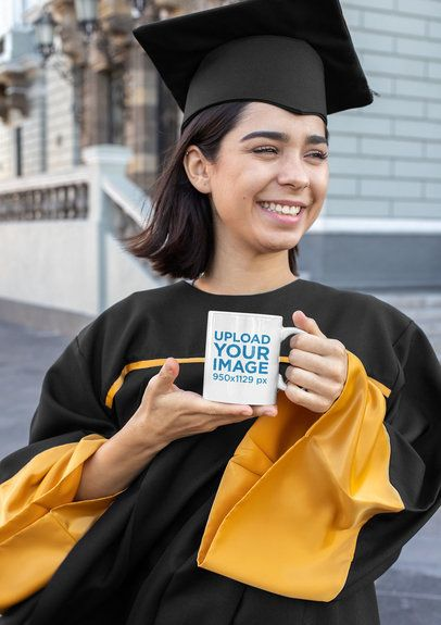 11 oz Coffee Mug Mockup of a Woman on Graduation Day 32614