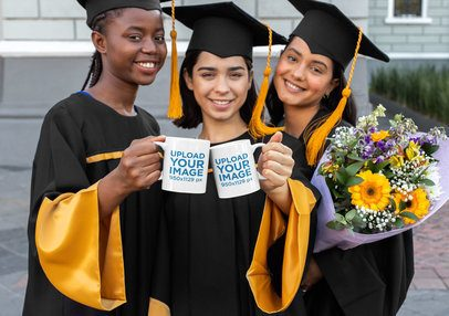 11 Oz Coffee Mug Mockup of a Group of Female Friends on Graduation Day 32616