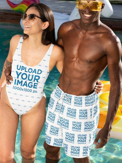Swimwear Mockup Featuring a Woman Hugging Her Boyfriend with Swim Trunks 32702