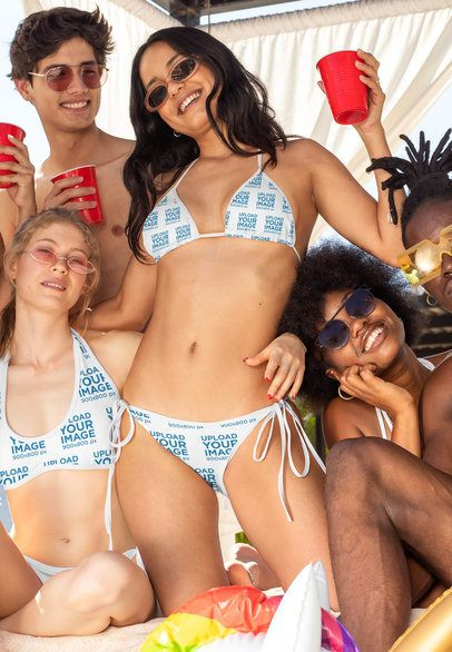 Mockup of Two Women Wearing Bikini Swimsuits at a Spring Break Party 32677