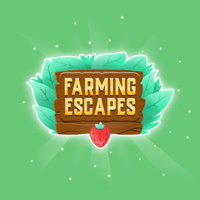 Farming Mobile Game Logo Maker Featuring a Strawberry 3007c