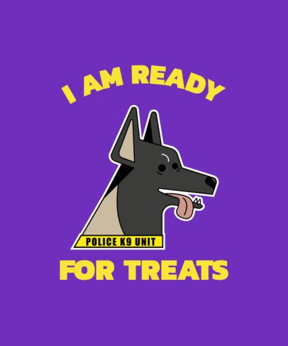 T-Shirt Design Template with a K9 Dog with Its Tongue Out 2317d