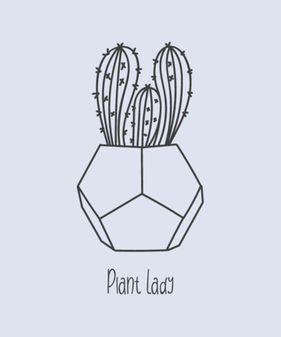T-Shirt Design Maker Featuring a Cactus on a Pot 392c-el1