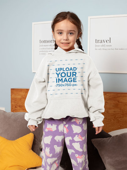 Hoodie Mockup of a Blue-Eyed Little Girl 31697