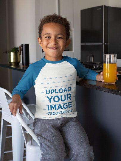 Raglan Tee Mockup of a Smiling Kid Drinking Juice 31646