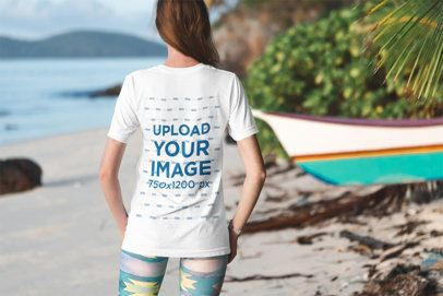 Back View Mockup of a Woman Wearing a Customizable T-Shirt by the Sea 3306-el1