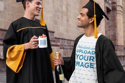 T-Shirt Mockup of Two Graduates with a Coffee Mug 32626