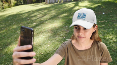 Dad Hat Video of a Woman Taking a Selfie 32728
