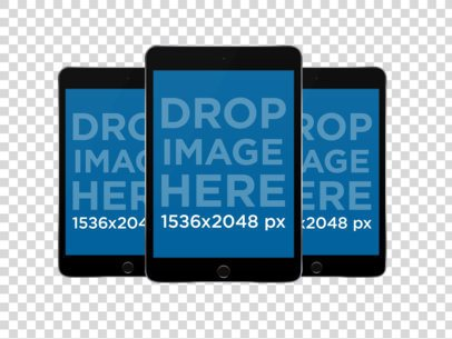 Black iPad Minis in Front View Portrait Position PNG Mockup a12316