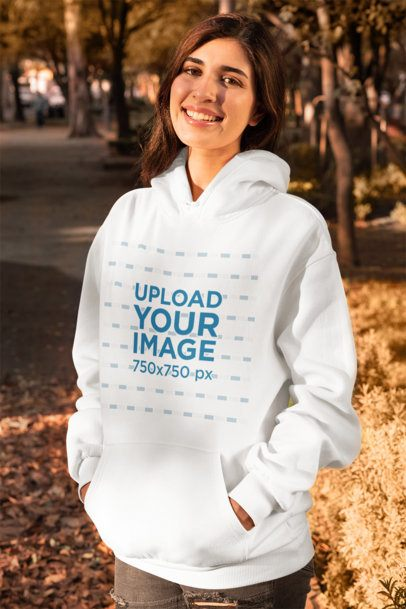 Mockup of a Woman Wearing a Pullover Hoodie in Fall 31803