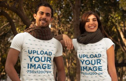 T-Shirt Mockup of a Couple at a Park During Fall 31802