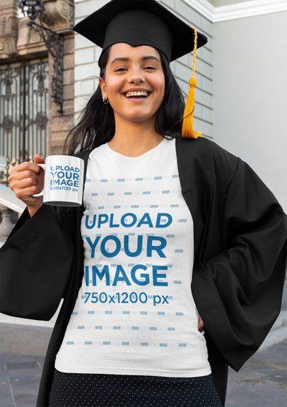 T-Shirt Mockup Featuring a Happy Graduate with a Coffee Mug 32592