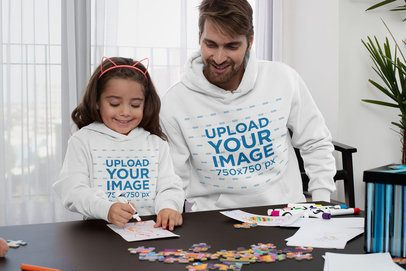 Pullover Hoodie Mockup of a Daughter and Her Father Drawing 33086