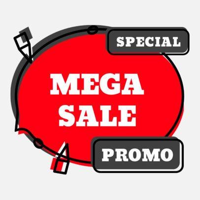 Sticker Design Template for a Special Mega Sale 2337f