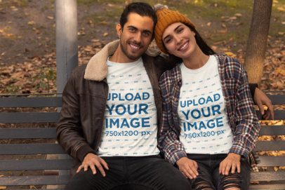 T-Shirt Mockup of a Happy Couple Hugging in Fall 31801