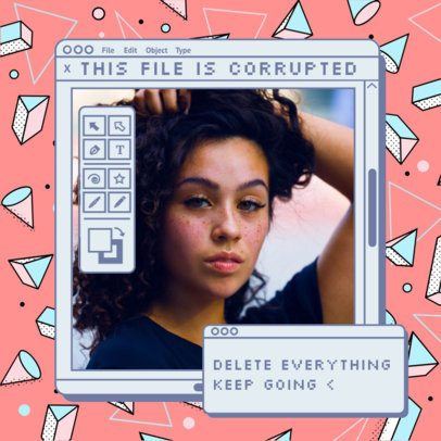 Instagram Post Maker Featuring Retro Computer Program Tabs 2344a