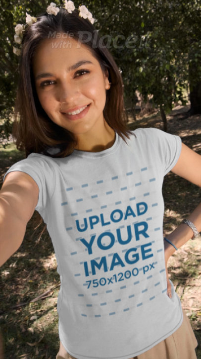 T-Shirt Video of a Woman Taking a Selfie in Spring 32736