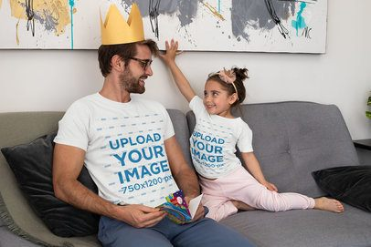 Mockup of a Dad and His Daughter Wearing Matching T-Shirts 33071